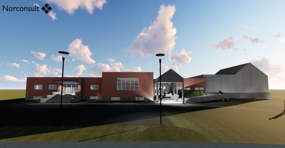 Arkitektenes tegning av fasaden av museumsbygget i Grensen 1 slik det vil se ut etter ombygging i 2021. Grafikk.