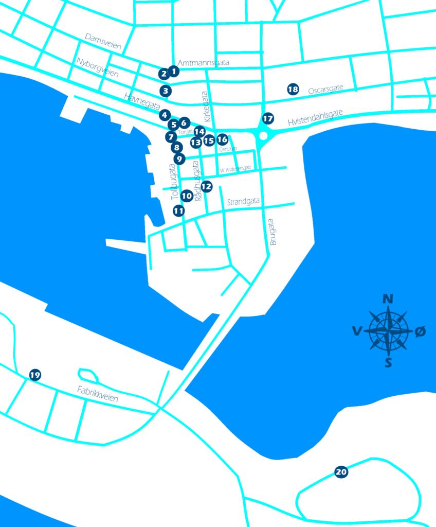 Enkelt kart over Vadsø sentrum med nummer som viser cirka hvor bildene fra før krigen er tatt. Grafikk.